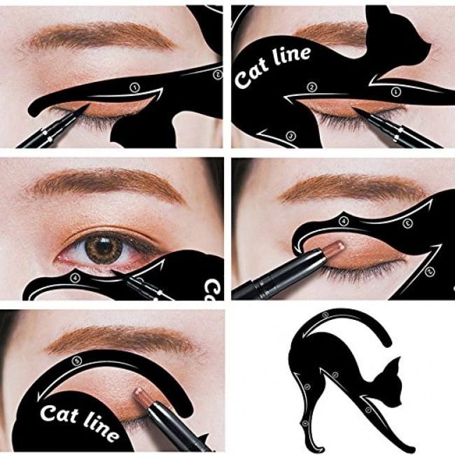 Котка шаблон за очна линия